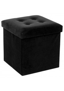 Сгъваем пуф - кутия, черен  велур  Лиза -  La Maison