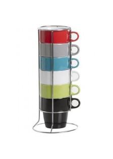 Комплект цветни чаши  6 бр. стойка  - La Maison