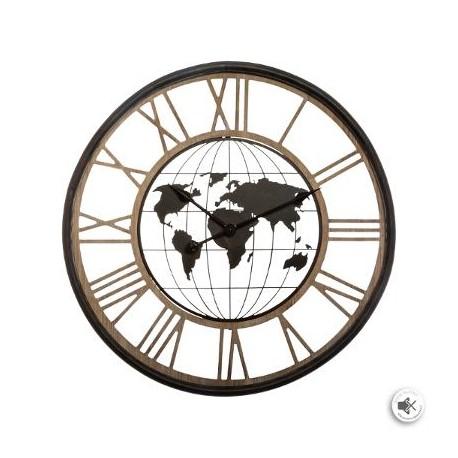 Часовник с карта на Света д.67 см. - La Maison