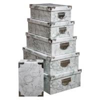 Кутии за съхранение 6 бр. комплект Марбър- La Maison