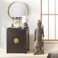 Кръгло огледало с дървена рамка д. 52 см- La Maison