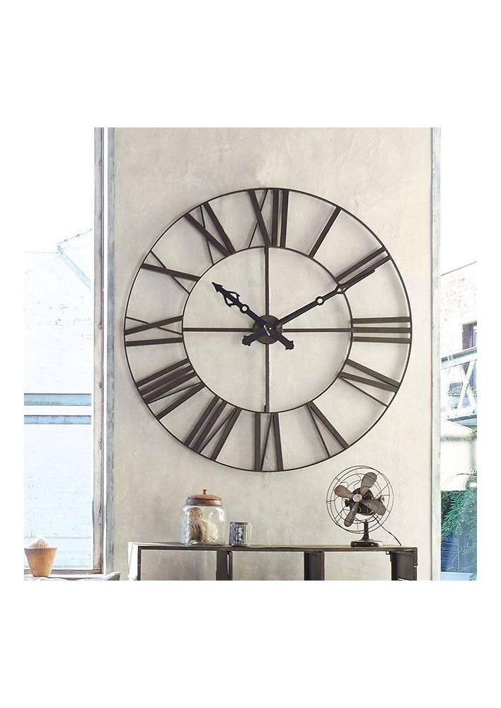 Метален ретро часовник д.90 см., кафяв - La Maison