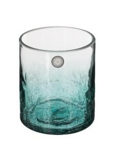Стъклен свещник с напукан ефект Крак 7 см.- La Maison