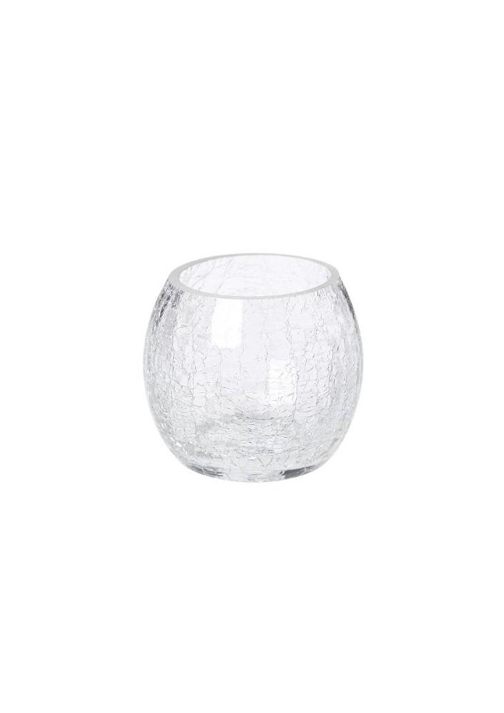 Стъклен свещник с напукан ефект  7 см.- La Maison