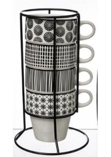 Комплект чаши от порцелан Бохемия  на стойка . - La Maison