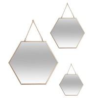 Огледала 3 ка комплект Хексагон 20/24/29 см. - La Maison