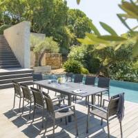 Градинаска, разтегателна маса Азуа ,цвят графит с ефект бетон 160 /254 см- La MAison